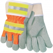 Memphis 12440RXL Luminator Split Cow Palm Gloves - Reflective Stripes on Back