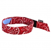 Ergodyne Chill-Its 6705CT Evaporative Cooling Bandana w/ Cooling Towel and Velcro Closure - Red Western