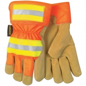 Memphis 19251 Luminator Grain Pigskin Leather Gloves - Hi-Viz Reflective Back