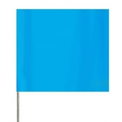 Presco Plain Wire Staff Marking Flags - 2x3 - Blue Glo- 18 inch Staff - 100 Bundle