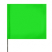 Presco Plain Wire Staff Marking Flags - 2x3 - Green Glo- 18 inch Staff - 100 Bundle