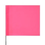 Presco Plain Wire Staff Marking Flags - 2x3 - Pink Glo- 18 inch Staff - 100 Bundle