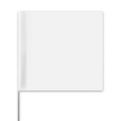 Presco Plain Wire Staff Marking Flags - 2x3 - White - 18 inch Staff - 100 Bundle