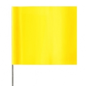 Presco Plain Wire Staff Marking Flags - 2x3 - Yellow Glo- 18 inch Staff - 100 Bundle