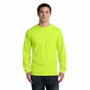 Gildan 2410 Ultra Cotton Long Sleeve T-Shirt with Pocket - Safety Green
