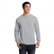 Gildan 2410 Ultra Cotton Long Sleeve T-Shirt with Pocket - Sport Grey