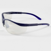 Bouton Hi-Voltage AC Safety Glasses - Blue Frame - Indoor/Outdoor Mirror Lens
