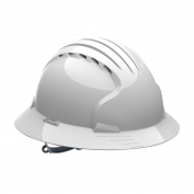 JSP Evolution 6141V Deluxe Full Brim Vented Hard Hat - Slip Ratchet Suspension - White