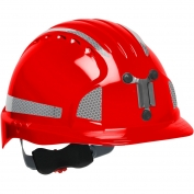 JSP Evolution 6151MCR2 Deluxe Reflective Mining Hard Hat - Wheel Ratchet Suspension - Red