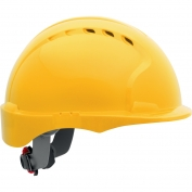 JSP Evolution 6151SV Deluxe Short Brim Vented Hard Hat - Wheel Ratchet Suspension - Yellow