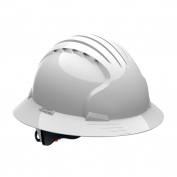 JSP Evolution 6161 Deluxe Full Brim Hard Hat - Wheel Ratchet Suspension - White