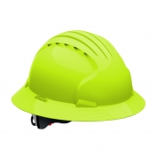 JSP Evolution 6161 Deluxe Full Brim Hard Hat - Wheel Ratchet Suspension - Hi-Viz Lime
