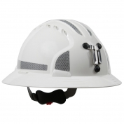 JSP Evolution 6161MCR2 Deluxe Full Brim Reflective Mining Hard Hat - Wheel Ratchet Suspension - White