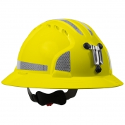 JSP Evolution 6161MCR2 Deluxe Full Brim Reflective Mining Hard Hat - Wheel Ratchet Suspension - Yellow