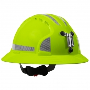 JSP Evolution 6161MCR2 Deluxe Full Brim Reflective Mining Hard Hat - Wheel Ratchet Suspension - Hi-Viz Lime