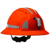 JSP Evolution 6161MCR2 Deluxe Full Brim Reflective Mining Hard Hat - Wheel Ratchet Suspension - Hi-Viz Orange