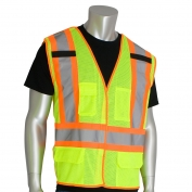PIP 302-0211 Class 2 X-Back Breakaway Two-Tone Mesh Safety Vest - Yellow/Lime