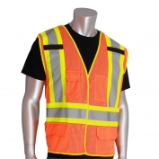 PIP 302-0211 Class 2 X-Back Breakaway Two-Tone Mesh Safety Vest - Orange
