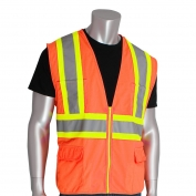 PIP 302-MAP Class 2 Solid Two-Tone Surveyor Safety Vest with Twelve Pockets - Orange