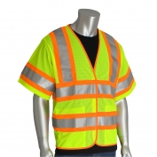 PIP 305-HSVPFR Type R Class 3 Self Extinguishing Two-Tone Mesh Safety Vest - Yellow/Lime