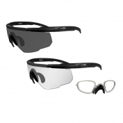Wiley X Saber Advanced Safety Glasses w/ RX Inserts - 2 Matte Black Frames - Grey & Clear Lenses
