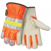 Memphis 32111 Luminator Grain Cow Palm Driver Gloves - Hi-Viz Orange Back w/ Reflective Striping