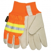 Memphis 3440 Luminator Grain Pigskin Leather Driver Gloves - Knit Wrist - Reflective Stripe