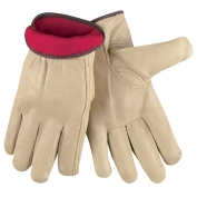 Memphis 3451 Industry Grade Grain Pigskin Leather Driver Gloves - Fleece Lined - Natural