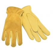 Memphis 3505 Regular Grade Grain Deerskin Leather Driver Gloves - Split Back - Yellow
