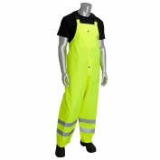 PIP 353-2001LY Class E Heavy Duty Waterproof Breathable Rain Bib - Yellow/Lime