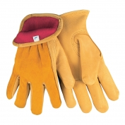 Memphis 3555 Regular Grade Grain Deerskin Leather Driver Gloves - Red Fleece Lined - Yellow