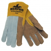 Memphis 4550 Split Select Shoulder Leather - Foundry Gloves - Sewn with Kevlar - Brown/Gray/Yellow
