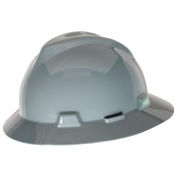 MSA 475367 V-Gard Full Brim Hard Hat - Fas-Trac Suspension - Gray
