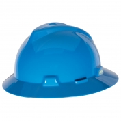 MSA 475368 V-Gard Full Brim Hard Hat - Fas-Trac Suspension - Blue