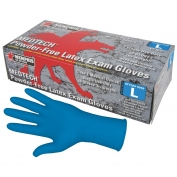 Memphis 5049 Medtech Disposable Latex Exam Gloves - 11 Mil - Powder Free - Blue