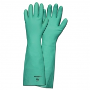 Memphis 5350 Nitri-Chem Unlined Nitrile Gloves - 22 mil Flock Lined - Green