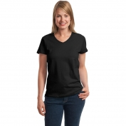 Hanes 5780 Ladies ComfortSoft V-Neck T-Shirt  - Black