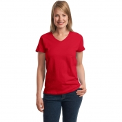 Hanes 5780 Ladies ComfortSoft V-Neck T-Shirt  - Deep Red