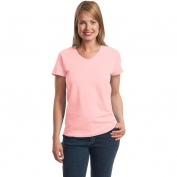 Hanes 5780 Ladies ComfortSoft V-Neck T-Shirt  - Pale Pink