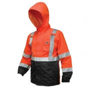 River City 591SJH Luminator Breathable Polyester/PU Black Bottom Rain Jacket - Orange