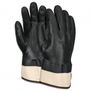 Memphis 6521SC Industry Standard Double Dipped PVC Gloves - Safety Cuff - Black