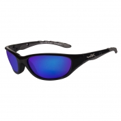 Wiley X AirRage Sunglasses - Gloss Black Frame - Polarized Blue Mirror Lens