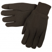 Memphis 7800 Clute Pattern Jersey Gloves - Plastic Dotted Palm Side - Brown