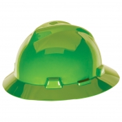MSA 815570 V-Gard Full Brim Hard Hat - Fas-Trac Suspension - Hi-Viz Lime