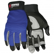 Memphis 902 Three-Fingerless Synthetic Leather Palm Multi-Task Gloves - Blue