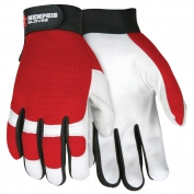Memphis 931 Multi-Task Gloves - White Grain Goatskin Palm - Red Spandex Fabric Back