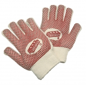 Memphis 9460K Red Brick Gloves - Heavy Loop-in Terry - 2-Sided Nitrile Blocks