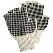 Memphis 9508M Fingerless String Knit Gloves - 7 Gauge Cotton/Polyester - PVC Dots Both Sides