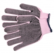 Memphis 9614P String Knit Gloves - 13 Gauge Cotton/Polyester - Two Sided PVC Dots - Powder Pink