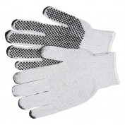 Memphis 9650 String Knit Gloves - 7 Gauge Cotton/Polyester - PVC Dots One Side